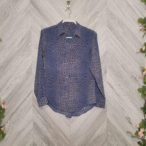 J Mclaughlin Blue Animal Print Long Sleeve Silk Bl